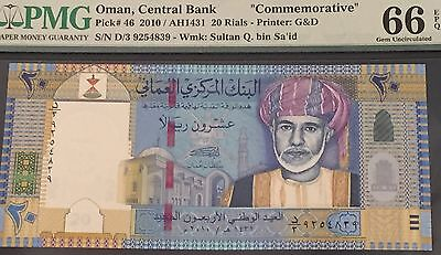 2010 Oman 20 Rials Pick #46 Pmg 66 Epq Commemorative