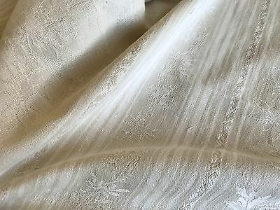 Antique French Ticking Fabric -Grey Beige & White Stripes -Floral Damask Cotton
