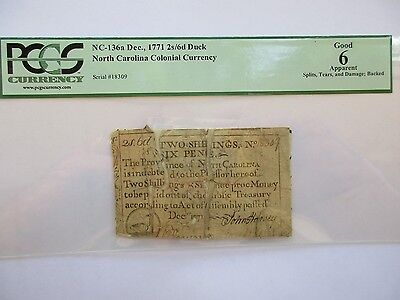 Colonial Currency No Carolina 1771, 2s/6d Duck, PCGS Good-6 apparent