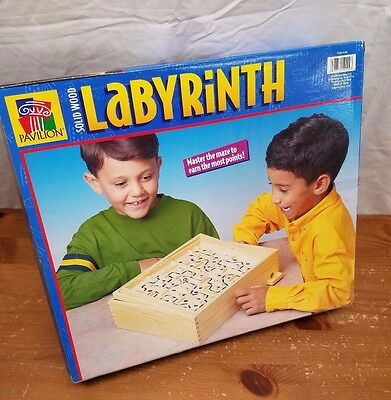 Vintage Labyrinth Wooden Board Game Maze - Pavilion  with 2 Balls - NEW