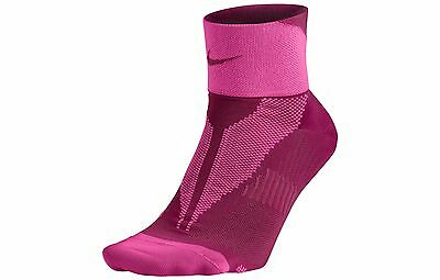 Nike Elite Lightweight Quarter SX4953-662 Men's Hot Pink Reflective Silver Socks