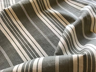Antique French Grey Herringbone Ticking Fabric - Gray & White Stripes