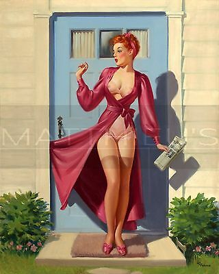 Art Frahm-Caught In The Door, Canvas/Paper Print, Pinup Girl