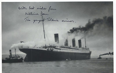 MIllvina Dean R.M.S. Titanic Survivor Signed 4 by 6 inch Photo White Star Line