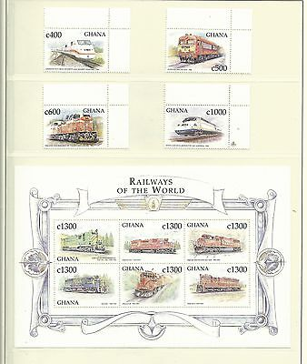 Ghana 1998 Railways of the World SG2883/98 +MS2899 mnh. Cat.£20+.