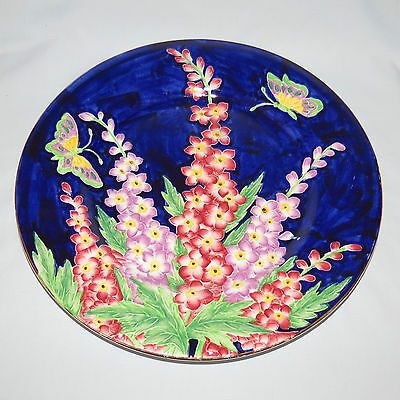 MALING ENGLAND TUBELINED DELPHINIUM PATTERN BLUE BACKGROUND PLATE c1935