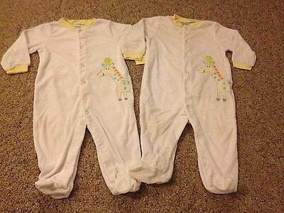 Baby twins 2-piece identical Carter's terry footed pajamas size 9 months unisex