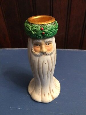 Anitque Porcelain PRIMITIVE SANTA Possible Dreams Taper Candlestick Holder #