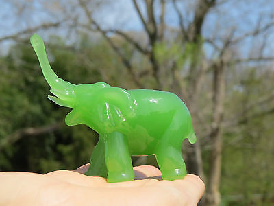 ANTIQUE Carved JADE Elephant Statue UpTurn Trunk GOOD LUCK Sculpture Collectible