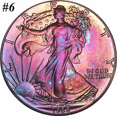 1988 American Silver Eagle ASE $1 Selection Lot BU MS Rainbow Color Toned Gems