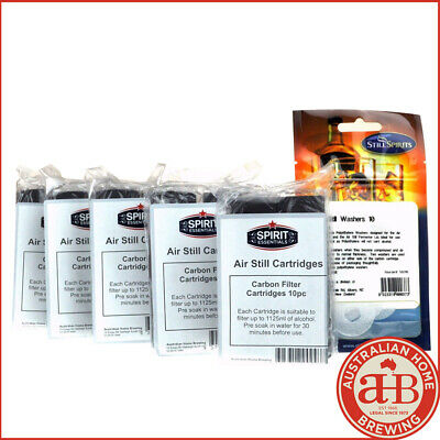 50 PACK Still Spirits AIR STILL CARBON CARTRIDGES & FILTER WASHERS home brew