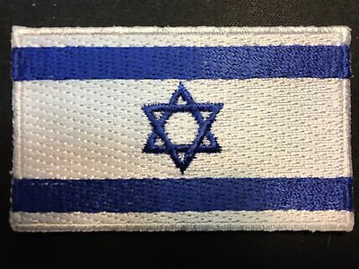 "ISRAEL FLAG STAR OF DAVID IRON-ON/SEW-ON EMBROIDERED APPLIQUE PATCH -- 2.5""x1.5"""
