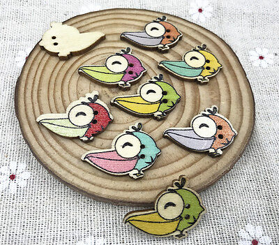 50pcs Big mouthbirds Wooden Buttons Mixed-color Sewing Scrapbooking Crafts 25mm