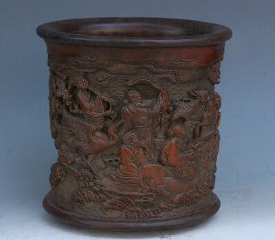 Chinese Exquisite Hand-carved the Eight Immortals carving bamboo pen holder