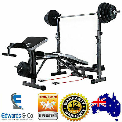 Multi Station Home Gym Exercise Fitness Equipment Station Weights Sets Bench