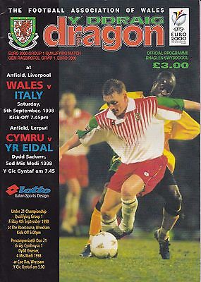 WALES v ITALY ~ EURO QUALIFER AT LIVERPOOL FOOTBALL PROGRAMME ~ 5 SEPTEMBER 1998