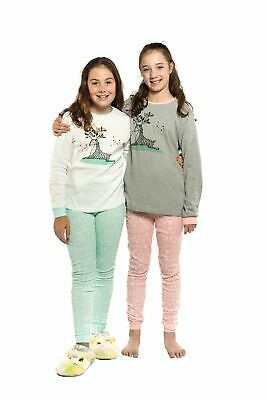 Girls PJS Size 8-14 Winter 2pc Long Set Pyjamas White or Grey Deer Hearts