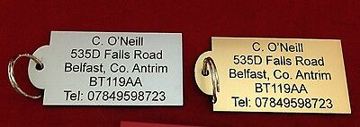 Personalised Gold or Silver Acrylic Suitcase Luggage Label, Engraved Details