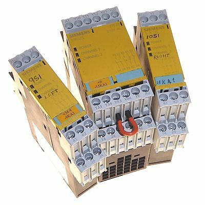 3 x Siemens Sirius 3TK28 safety relay modules dual channel DIN rail