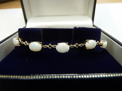 "9ct Gold Natural Opal Bracelet  7 3/4""   7.8 grams"
