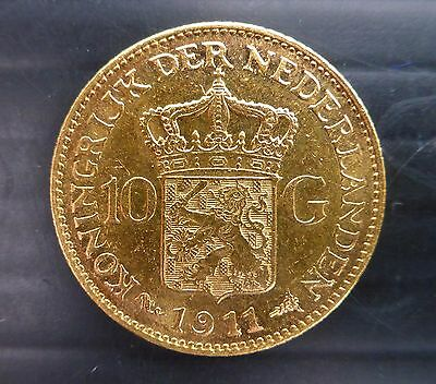 NETHERLANDS 1911 Gold Coin 10G Very Fine Condition NB277