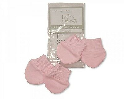 Premature Baby Cotton  Pink Scratch Mitts Twin Pack