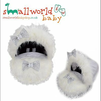 Personalised White Fur Baby Car Seat Cover And Hood Trim (NEXT DAY DISPATCH)