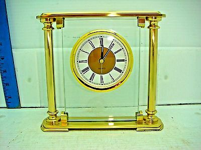 Vintage Brass & Glass Quartz Alarm Desk Top Clock