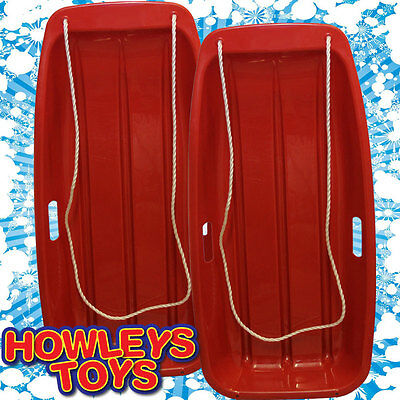 TWIN PACK - 2 x Snow Speeder Plastic Sled Sledge RED