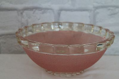 Cute Vintage 1930's Pink Frosted, Sugared Glass Bowl, Kitchenalia, Very Heavy