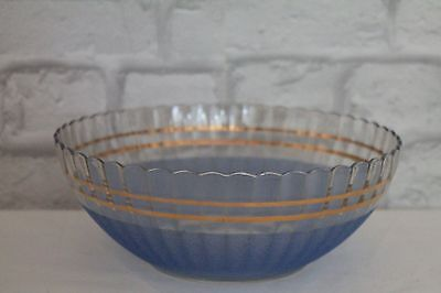 Cute Vintage 1930's Blue Frosted, Sugared Glass Bowl, Kitchenalia, Gilt Edges