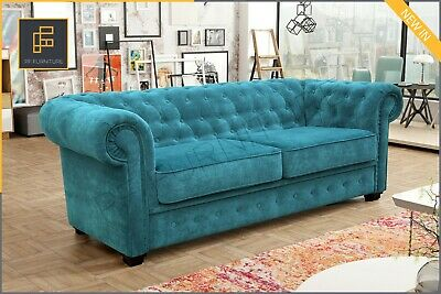 Imperial Chesterfield 3 Seater or 2 Seater Sofa in Fabric Grey Cream