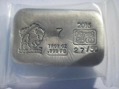# 27 out of 50, Limited edition, 7 troy oz. Bison Bullion 999 Silver Bar /Coin