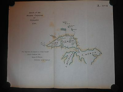 Western Counties Of Canada In 1791 Map Hand Color Lake Superior Michigan Huron