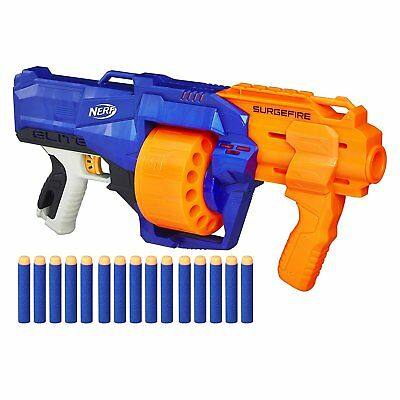 Nerf Toy Foam Gun N-Strike Elite SurgeFire Pump Action Blaster 15 Dart Drum NEW