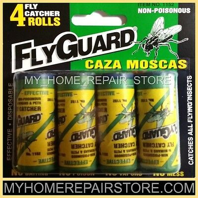 2 Packs For $ 7 ! — 8 Flyguard Fly Catcher Rolls —Insect—Glue—Trap—Strip—Paper