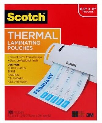 Scotch Thermal Laminating Pouches 100 Pack Count Paper Sheet Letter Size Clear