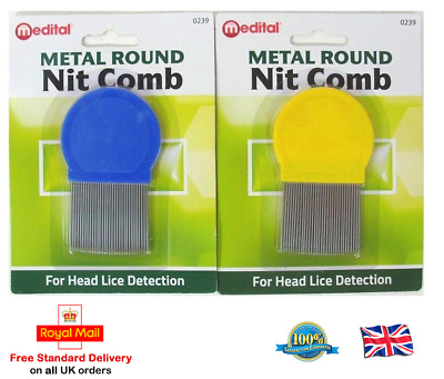 METAL ROUND NIT COMB Hair Fine Tooth Toothed Remove Gritty Nitty Head Lice Comb