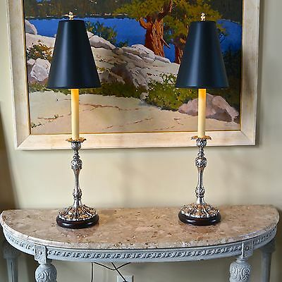 """2 Vintage Ornate Baroque 35"""" Silver Candlestick Buffet Table Lamps Finial Shade"""