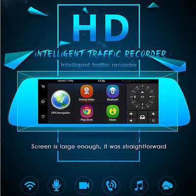 "7"" 3G Car Camera DVR GPS Bluetooth Dual Lens Rearview Mirror Video Recorder"