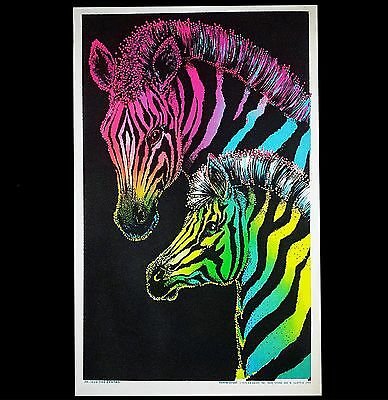 "1973 Vintage Blacklight Poster Beautiful Animals Pair ""zebras"" Very Rare Pinup"