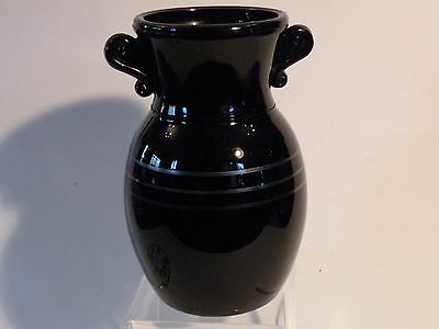 3m400 VINTAGE ART DECO BLACK AMETHYST GLASS VASE, with silver overlay