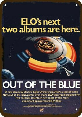 1977 ELO OUT OF THE BLUE Album Release Vintage Look Replica Metal Sign