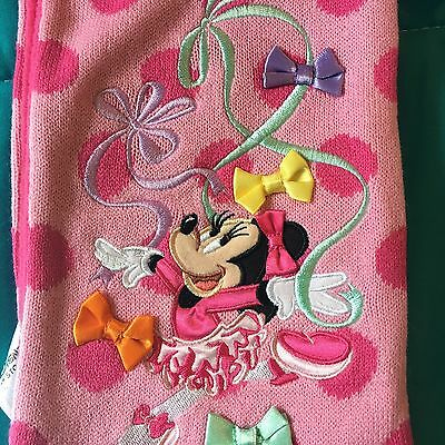 Disney Pink Minnie Mouse Scarf One Size Polka Dots and Bows! Embroidery New!