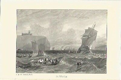 Antique Print The Harbours of England Whitby by J.M.W. TURNER
