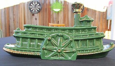 Vintage Mid-Century Ceramic Green and Gold Steamboat River Boat T.V Planter Lamp