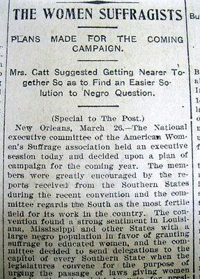 1903 Houston TEXAS newspaper NEGROES EXCLUDED from battle for WOMEN SUFFRAGE
