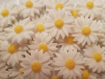 18 Edible Sugar Daisies White Flowers Birthday Wedding Cake Cupcake Toppers