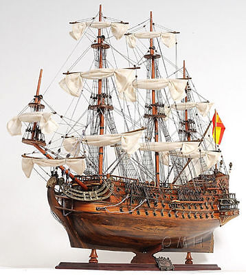 "Spanish Armada Galleon San Felipe Wooden Tall Ship Model 37"" Hand Crafted"