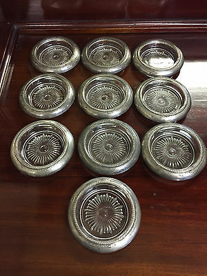 Vintage Set of 10 Matching Sterling Silver & Glass Coasters by Laben